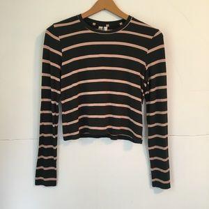 American apparel striped long sleeve crop top